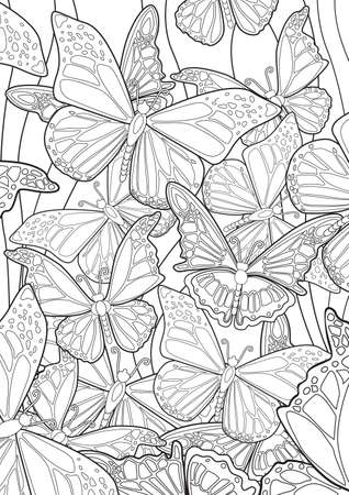 butterflies flying: Adult Coloring book  illustration. Tattoo set: Butterflies. illustration.
