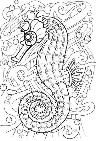 printable coloring pages: Adult Coloring book  illustration. Tattoo set: Seahorse. illustration.