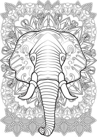 printable coloring pages: Adult Coloring book  illustration. Tattoo set: Elephant. illustration.