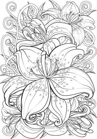 Adult Coloring Book Illustration. Tattoo Set: Pin-up. Illustration ...