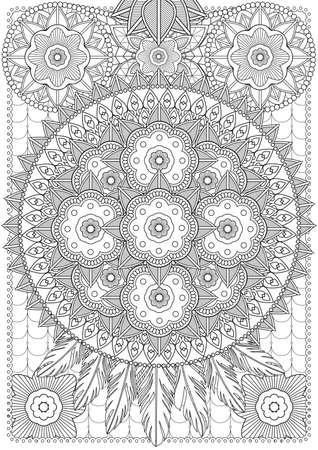 printable coloring pages: Adult Coloring book  illustration. Tattoo set: Lace-Dreamcatcher. illustration. Illustration