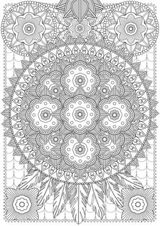 Adult Coloring book  illustration. Tattoo set: Lace-Dreamcatcher. illustration. Illustration