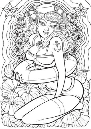 anchor drawing: Adult Coloring book  illustration. Tattoo set: Pin-up. illustration.