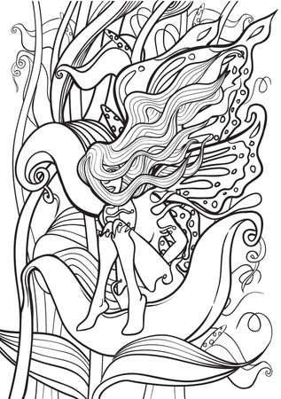 printable: Adult Coloring book  illustration. Tattoo set: Fairy. illustration.