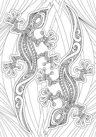 book pages: Adult Coloring book  illustration. Tattoo set: Lizards. illustration. Illustration