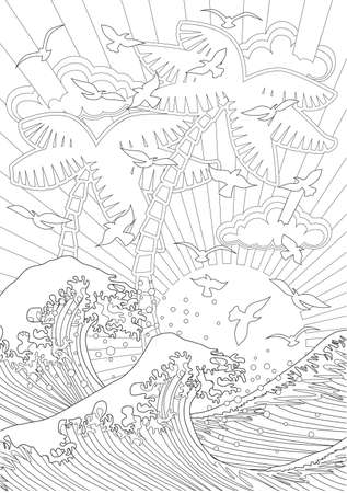 printable coloring pages: Adult Coloring book  illustration. Tattoo set: Waves. illustration.