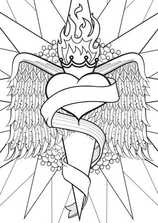 burning heart: Adult Coloring book  illustration. Tattoo set: Burning heart. illustration.