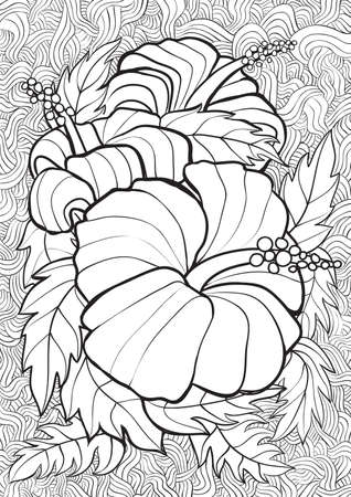 printable coloring pages: Adult Coloring book  illustration. Tattoo set: Hibiscus. illustration. Illustration