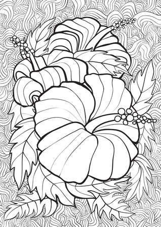 Adulte livre de coloriage illustration. Tattoo set: Hibiscus. illustration. Vecteurs