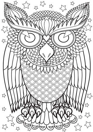 printable coloring pages: Adult Coloring book  illustration. Tattoo set: Owl. illustration.