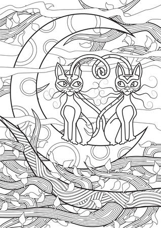 printable coloring pages: Adult Coloring book  illustration. Tattoo set: Cats. illustration.