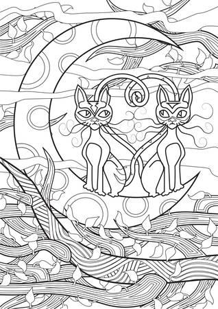 moonrise: Adult Coloring book  illustration. Tattoo set: Cats. illustration.