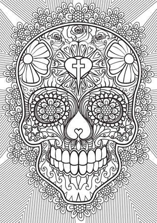 hand print: Adult Coloring book  illustration. Tattoo set: Skull. illustration.