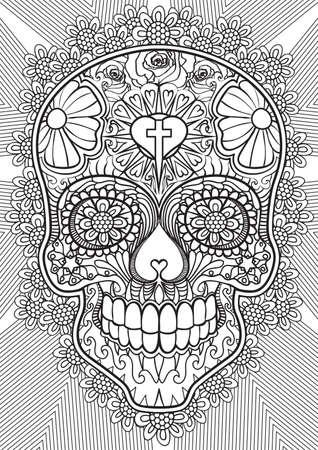 dibujos para colorear: Adulto ilustración de libros para colorear. conjunto tatuaje: cráneo. ilustración.