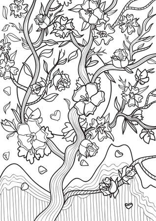 a twig: Adult coloring book illustration. Tatto set: Twig