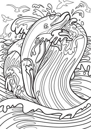 printable coloring pages: Adult coloring book illustration. Tatto set: Dolphin