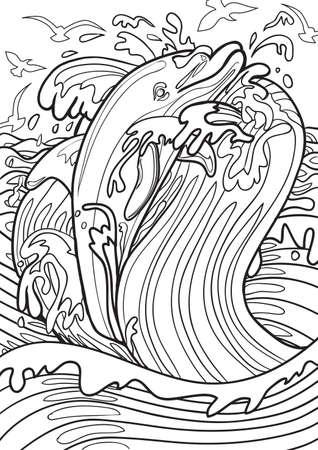dibujos para colorear: Adulto ilustración de libros para colorear. Tatto conjunto: Dolphin Vectores