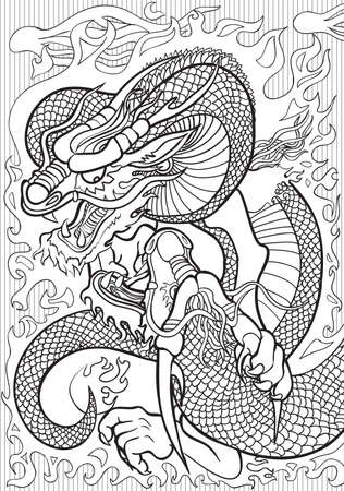 color pages: Adult coloring book illustration. Tatto set: Dragons