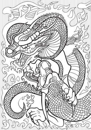 Adult coloring book illustration. Tatto set: Dragons