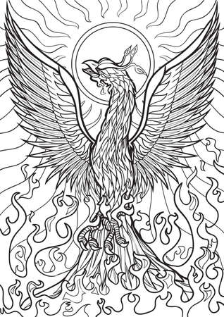 printable: Adult coloring book illustration. Tatto set: Phoenix Illustration