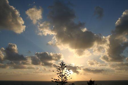 August Sunrise in northern Malta Stock Photo