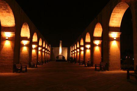 Upper Barrakka Gardens by night in Valletta, Malta