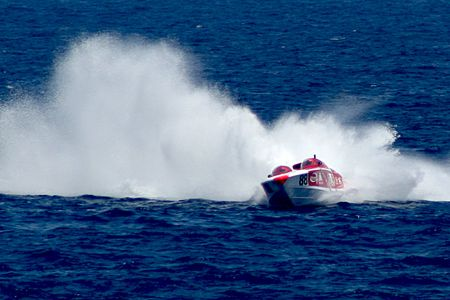 Power Boat during race in Malta GP 2005 Stock Photo - 401372