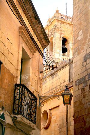 gozo: Narrow Street in Gozo, Malta Stock Photo