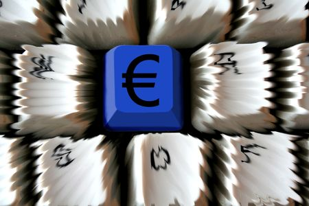 Blue euro symbol on keyboard Stock Photo - 2290649