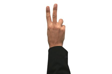 Hand showing the sign of number two 2 Stock Photo