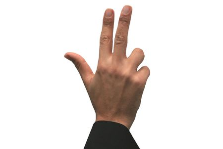 Hand showing the sign of number three 3 photo