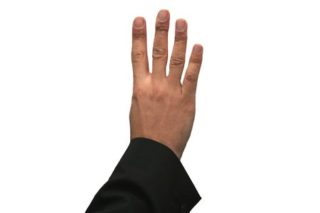 Hand showing the sign of number four 4 photo