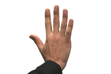 Hand showing the sign of number five 5 photo