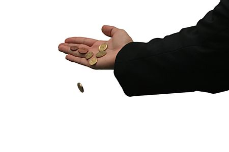 Excess money falling from businessmans hand Stock Photo