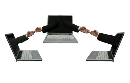 Three laptops computer with hands out of the screens touching each other. Symbolising a network Stock Photo - 2547947