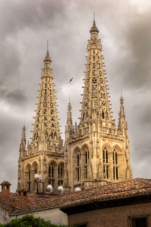 Burgos cathedral towers a cloudy day. The towers are bathed by a warm light between the clouds while swift flies between them.