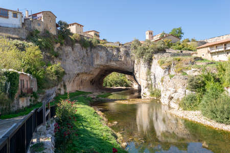 Puentedey. Old Spanish village in the province of Burgos, which is situated on a spectacular natural rock bridge. Stock fotó