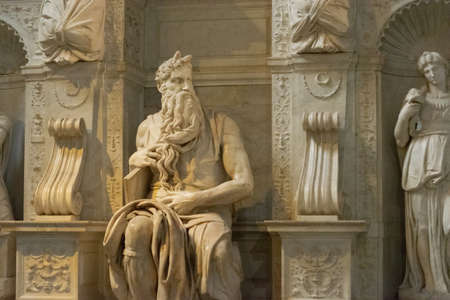 Moses by Michelangelo in the church of San Pietro in Vincoli in the city of Rome