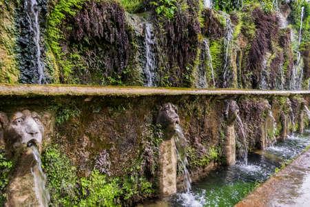 Fountain in the gardens of Villa DEste in Tivoli.