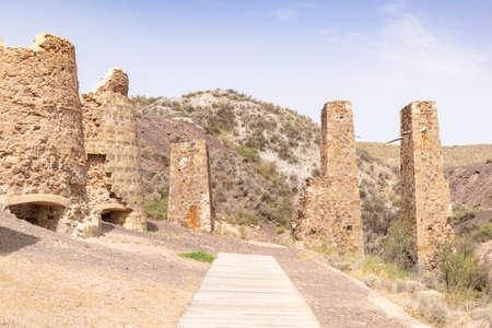 Old mining calcination furnaces in Lucainena de las Torres. Almeria, Andalucia, Spain