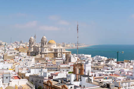 Cadiz Aerial view of the city on a sunny day. Andalusia, Spain