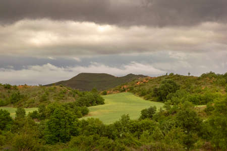 Landscape of Castilla and Leon with cloudy sky. Burgos, Spain