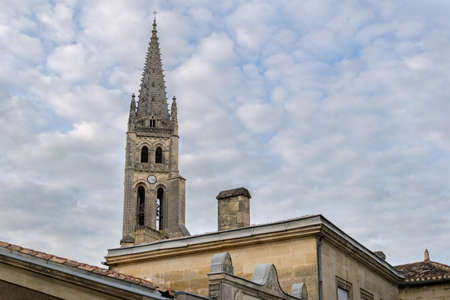 Bell tower of the church Monolith de Saint Emilion. Medieval architecture. Aquitaine, France, Europe Stock Photo