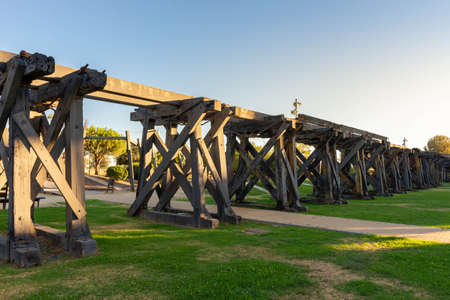 Old railway dock for ore from Rio Tinto in Huelva. Andalusia, Spain. Stock Photo