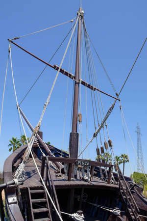 Caravels and ship with which Christopher Columbus ventured to discover the new world. At the dock of the caravels of La Rabida, in Huelva, Andalusia, Spain