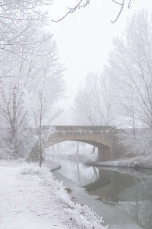 Castile Canal in winter with a strong frost. Valladolid, Castile and Leon, Spain