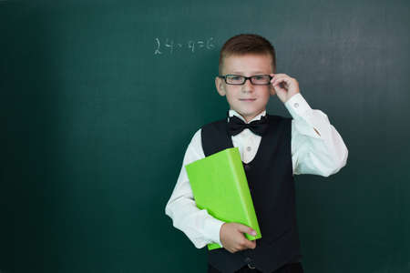 the pupil: Happy pupil with schoolbook on the blackboard