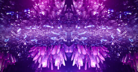 Crystal abstract neon 3d cave music background
