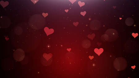 Romantic background of Red hearts watch Stock Photo