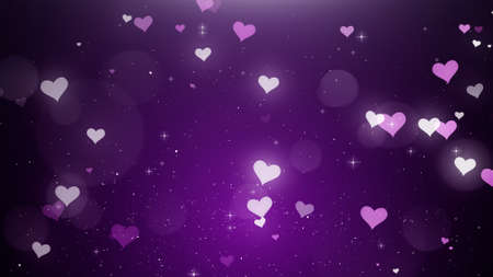 White-pink hearts on a violet background 4k Stock Photo